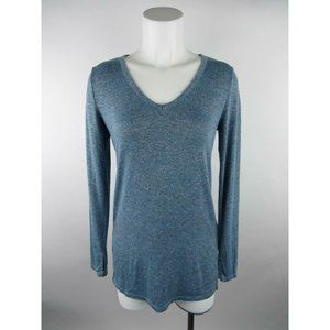 Gap Solid Heather Long Sleeve V-Neck Knit Top